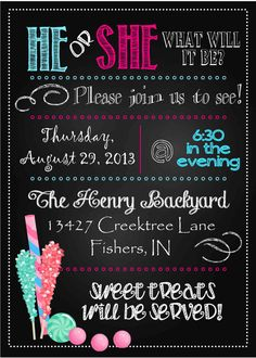 Chalkboard Style Candy Buffet Baby Gender Reveal Invitation by spencervillejunction, $10.00