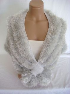 Hand knitted white silver wedding bolero $49.00