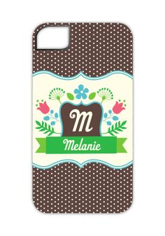 Sweet Floral Monogram Banner iPhone 4/4S Case