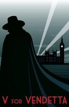 Art Deco: V for Vendetta by ~privatechino