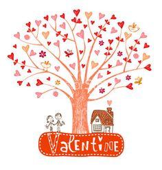 Valentine tree with hearts vector on VectorStock®