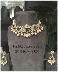 Indian Jewelry Earrings, Indian Jewelry Sets, Emerald Jewelry, Emerald Necklace, Gold Necklace, Silver Jewelry, Diamond Jewelry, Silver Ring, Diamond Choker