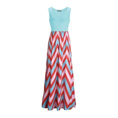 Rotita Round Neck Chevron Print Color Block Maxi Dress ($24) ❤ liked on Polyvore featuring dresses, maxi dresses, day dress, blue, bohemian maxi dress, sleeveless dress, maxi dress, red dress and boho maxi dress