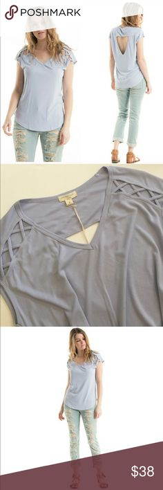 SubmitOffer💕LilacGrey Strappy Detail OpenBack Top • Brand New • NWT Boutique  • 75% Modal 25% Polyester  • X strappy open back top • rib detail Top see close up pic for fabric type  • small, medium or large available • lilac grey color almost looks like a light periwinkle.  Last 2 photos show actual item• comfy material• true to size Fashionomics Tops Tees - Short Sleeve