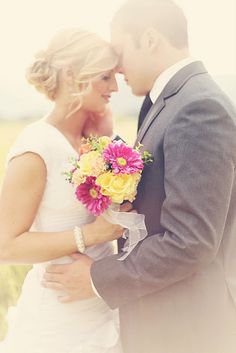 Another great just married wedding photo idea. Great color!