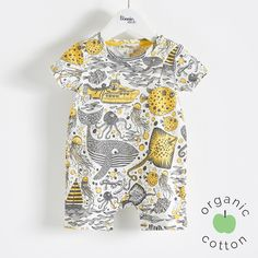 "The Bonnie mob SS16 - The Life Aquatic. SKUTTLE Organic Cotton Underwater Print Yellows Baby Unisex Romper/Playsuit. Short sleeved short leg playsuit with press stud opening at shoulder. Made from 100% organic cotton jersey and printed with our all over ""underwater adventure sketch print'."