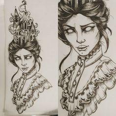 By Jordan Taylor Townsend Halloween tattoo, tattoo design, tattoo flash, witch, witch tattoo, burning church tattoo, creepy,gothic