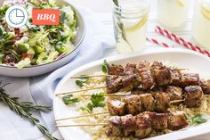 Grilled Pork Souvlaki - with Lemon Rice and Greek Salad Souvlaki, Lemon Rice, Grilled Pork, Greek Salad, Make It Simple, Grilling, Beef, Meals, Fresh