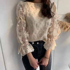 Casual Sexy Lace Splicing Long Sleeve Blouse - - Source by ressammelekerol Embroidered Lace, Lace Sleeves, Fashion 2020, Street Fashion, Fashion Art, Fashion Ideas, Fashion Trends, Simple Dresses, Types Of Sleeves
