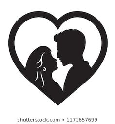Bride And Groom Silhouette, Couple Silhouette, Wedding Silhouette, Silhouette Clip Art, Woman Silhouette, Paper Cutting, Rock Crafts, Diy Arts And Crafts, Couple In Love