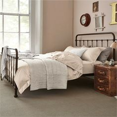 This traditional dorm style bedstead is perfect to capture the essence of vintage days gone by. Luxury Bedroom Furniture, Home Bedroom, Bedroom Decor, Luxury Bedding, Modern Bedding, Master Bedroom, Wall Decor, Black Metal Bed Frame, Metal Double Bed