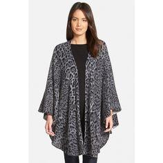 Sofia Cashmere Leopard Print Cashmere Knit Cape ($190) ❤ liked on Polyvore