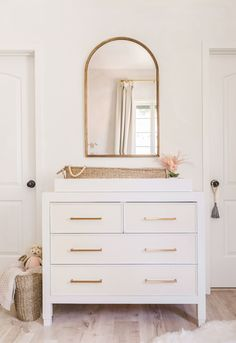 Arch Mirror over Changing Table/Dresser in Baby Girl Nursery Nursery Mirror, Nursery Dresser, Girl Nursery, Nursery Room, Nursery Works, Wood Crib, Changing Table Dresser, Removable Wall Murals, Project Nursery