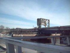 MBTA train crossing a Bascule Bridge