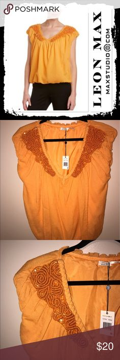 NWT Leon Max orange top Gorgeous brand new wool silk blend top from Max Studio designer Leon Max size M Max Studio Tops