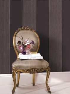 Rose Wallpaper by Kelly Hoppen - Purple Flower Wall Coverings by Graham Brown Purple Roses Wallpaper, Striped Wallpaper, Wall Wallpaper, Wallpaper Ideas, Kelly Hoppen, Bold Stripes, Flower Wall, Purple Flowers, Decorative Plates