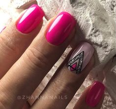 78 Hot Pink Nails Art Designs,Can Be Used In Almost All Occasions - - . 78 Hot Pink Nails Art Designs,Can Be Used In Almost All Occasions - - nails ideas short French Manicure Nails, Pink Manicure, French Nails, Accent Nail Designs, Square Nail Designs, Nail Art Designs, Nails Design, Glitter Pedicure Designs, Hot Pink Nails