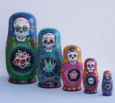 DIA DE LOS MUERTOS/DAY OF THE DEAD~Sugar Skull nesting dolls.