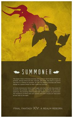 Well, time for another series of FFXIV posters, this time focusing on jobs. After doing the Grand Companies series, I had the idea of using the silhouettes of each job in a similar style. A Limsean...