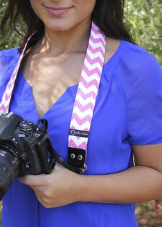 "Chevron Pink 1.5"" DSLR Camera Strap"