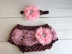Brown and Pink Bloomer and Headband Set by SomethingBleuShop, $20.00