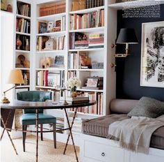 a perfect gray: sofa nook in a built-in bookcase