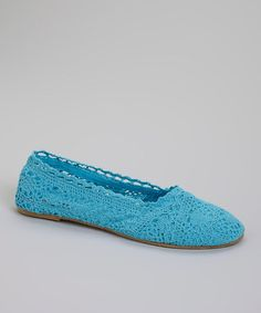Look at this #zulilyfind! Turquoise Crocheted Slip-On Shoe by Ositos Shoes #zulilyfinds