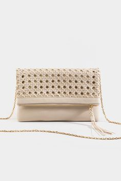 The Diana Woven Fold Over Clutch in Cream features a vegan leather clutch with a detachable gold chain. Gold Chains, Vegan Leather, Diana, Zip Around Wallet, Handbags, Purses, Boho, Cream, My Style