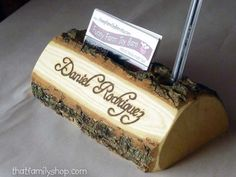 Log Pen and Business Card Holder with Custom by thatfamilyshop, $32.00