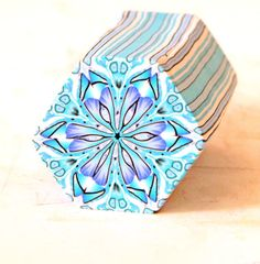 Hexagon Polymer Clay Cane in blue and grey
