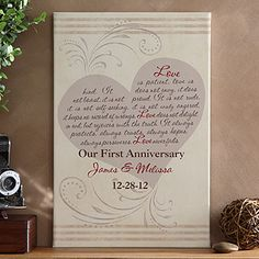"""I'm in love with this beautiful canvas! It's so unique and has the entire """"Love is patient"""" verse molded into the shape of a heart and you can personalize it with 3 lines of anything you want for only $38.95! The photo shows """"Our First Anniversary"""" but I think it would be cute to end it with """"Now And Forever,"""" or """"From This Day Forward"""" and give it as a wedding gift with the couple's names and dates! #wedding Anyone else have any other cute suggestions to use at the bottom?"""