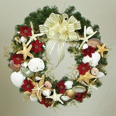 "Christmas wreaths with seashells  | Christmas Seashell Wreath 20"" Green Wreath ... 