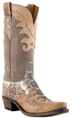 Womens Lucchese Since 1883 Western Rattlesnake Pearl Mad Dog Goat Wingtip N4080