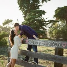 Great for engagement photo or Bride and groom photo with wedding date on fence