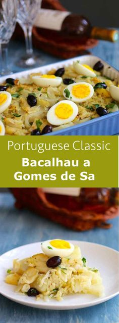 Bacalhau a Gomes de Sa is one of the most famous salted cod fish recipes in Port. - Bacalhau a Gomes de Sa is one of the most famous salted cod fish recipes in Portugal, with potato, - Cod Fish Recipes, Seafood Recipes, Cooking Recipes, Fish Dishes, Seafood Dishes, Salted Cod Fish Recipe, Salt Fish Recipe, Bacalhau Recipes, Portuguese Recipes