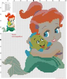 Baby Ariel with Flanders cross stitch pattern