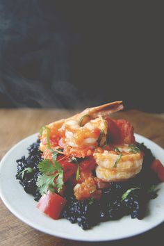 Hot chili shrimp over black rice by @Claire Thomas #blackrice