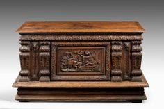 Mid 18th century finely carved oak Kist or Coffer
