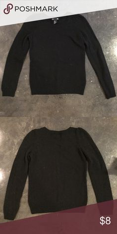Black H&M Sweater Black H&M Sweater size XS fits XXS/XS.  This def has wool in it but it isn't too itchy for myself but everyone is different.  The sleeves are a bracelet sleeve so they hit just below the wrists! H&M Sweaters Crew & Scoop Necks