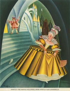 Gustaf Tenggren 'Swiftly the Prince followed; more swiftly ran Cinderella' from The Tell-It-Again Book