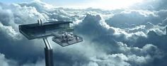 Oblivion concept art shows Tom Cruise's private Cloud City House In The Clouds, Above The Clouds, Futuristic Art, Futuristic Architecture, Futuristic Houses, Architecture Design, Tom Cruise, Oblivion Movie, Science Fiction