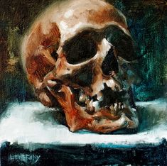 Alla Prima Skull Painting.  Oil painting on canvas, by Heather Lenefsky Art, Los Angeles, CA