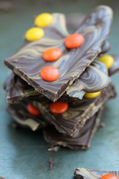 Reese's Pieces Chocolate Bark @foodfanatical