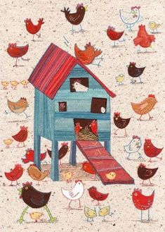 Just as a chicken house should be! This would be cute painted on the coop. Chicken Art, Chicken Houses, Chicken Story, Wild Chicken, Chickens And Roosters, House Illustration, Raising Chickens, Coq, Chickens Backyard