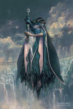 Matariel, Angel of Rain - Art by Peter Mohrbacher - Angelarium Fantasy World, Dark Fantasy, Peter Mohrbacher, Wow Art, Creature Concept, Angels And Demons, Angel Art, Fantasy Inspiration, Character Inspiration