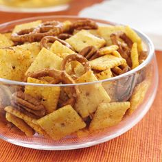Be sure to have plenty of this snack mix on hand for the big game. The barbecue seasoning on the white cheddar crackers, pretzels and pecans lends smoky, sweet and spicy flavors to the snack.
