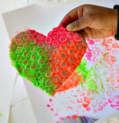 Create colorful DIY Bubble Wrap Stamp Art with these easy homemade stamps that can be made entirely from recycled materials. With just some cardboard from a cereal box and bubble wrap, your child can create simple or complex prints. Art Activities For Kids, Fun Crafts For Kids, Toddler Crafts, Preschool Crafts, Art For Kids, Kid Activites, Kid Art, Bubble Wrap Crafts, Bubble Wrap Art