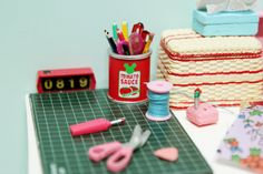 Miniature sewing and craft table