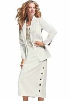 c37295b53d976 Roamans Women s Plus Size Side Button Jacket Dress (White