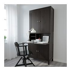 "HEMNES Secretary with add-on-unit, black-brown - 35x77 1/2 "" - IKEA"